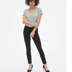NWT Gap Mid Rise True Skinny Jeans 27T Black c236